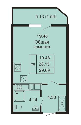 Планировка Студия площадью 29.69 кв.м в ЖК «Кудров - Хаус»