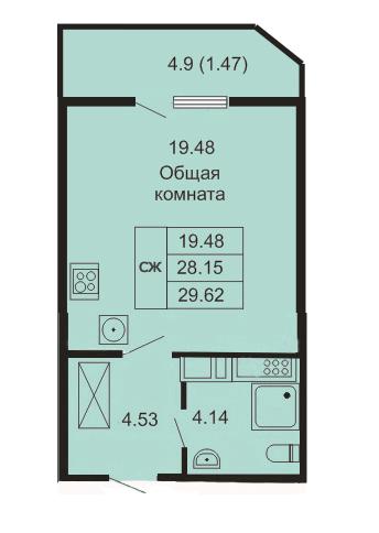 Планировка Студия площадью 29.62 кв.м в ЖК «Кудров - Хаус»