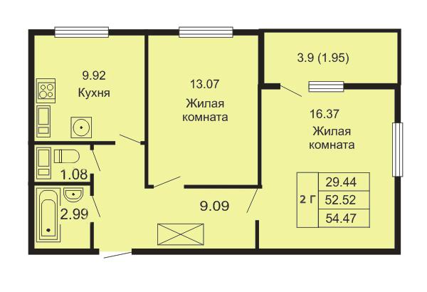 Планировка Двухкомнатная квартира площадью 54.47 кв.м в ЖК «Кудров - Хаус»