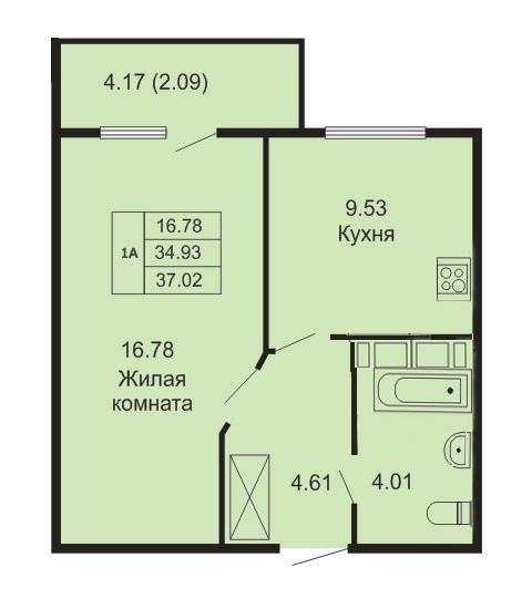 Планировка Однокомнатная квартира площадью 54.63 кв.м в ЖК «Кудров - Хаус»
