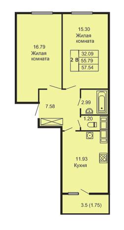 Планировка Двухкомнатная квартира площадью 57.54 кв.м в ЖК «Кудров - Хаус»